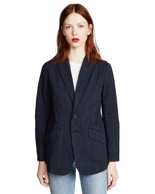 Current Elliott Late Night Stripe Blazer - Blue w/ white stripe