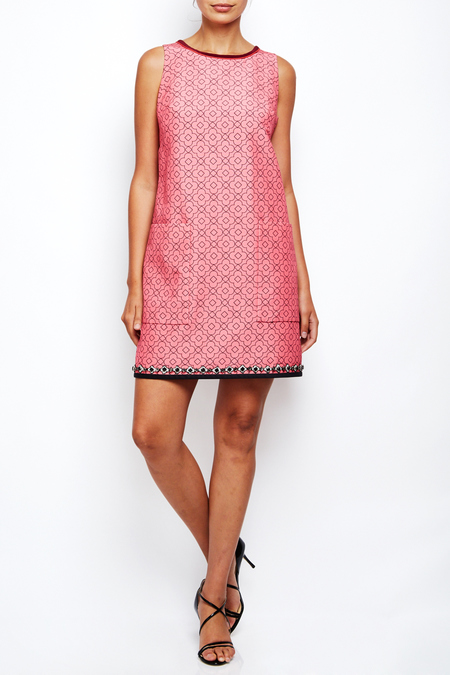 Aquilano shift dress with embroidery - pink
