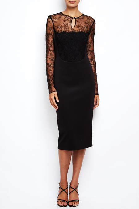 AVH lace long sleeve midi dress - Black