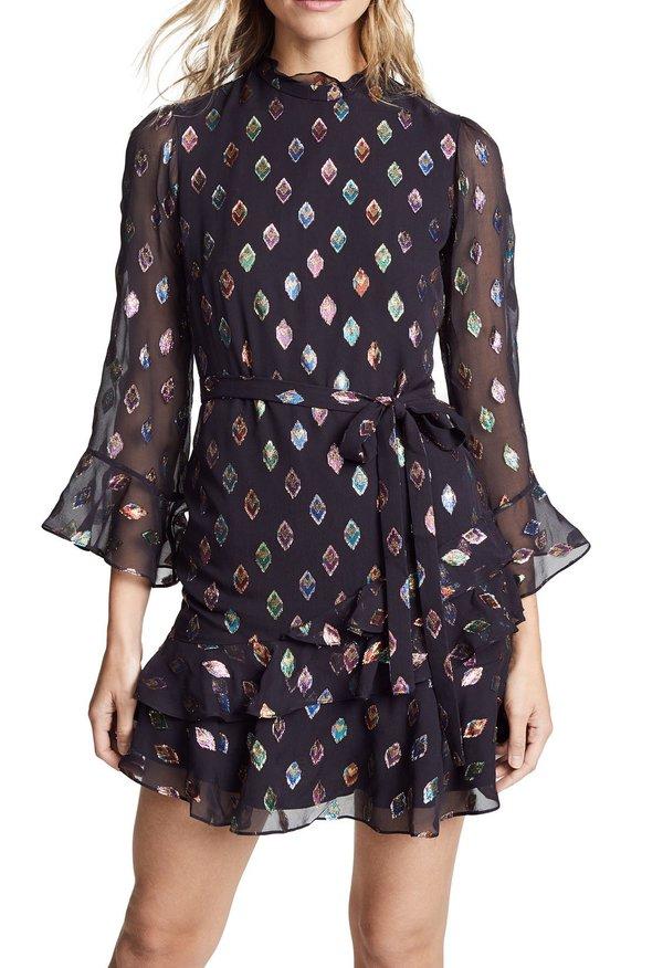 bed092f7d38e5 Saloni Marissa Mini Dress - Black Rainbow | Garmentory
