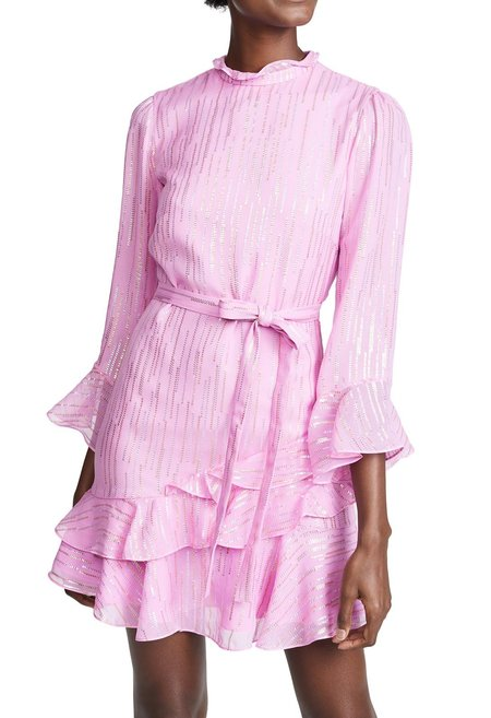 Saloni Marissa Mini Dress - Candy Pink Metallic
