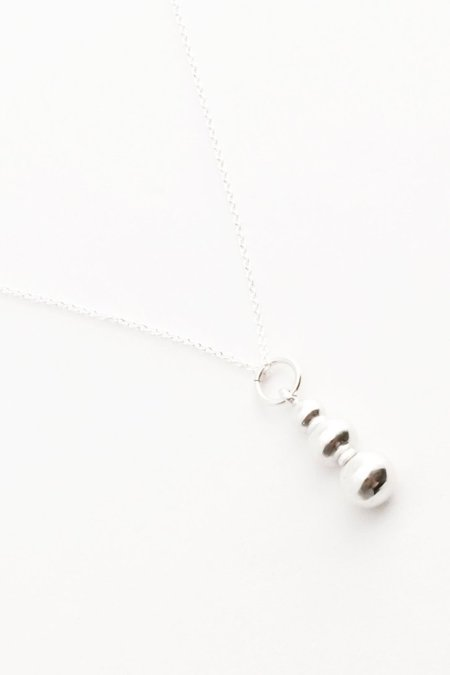 Another Feather Pearl Drop Necklace - Silver