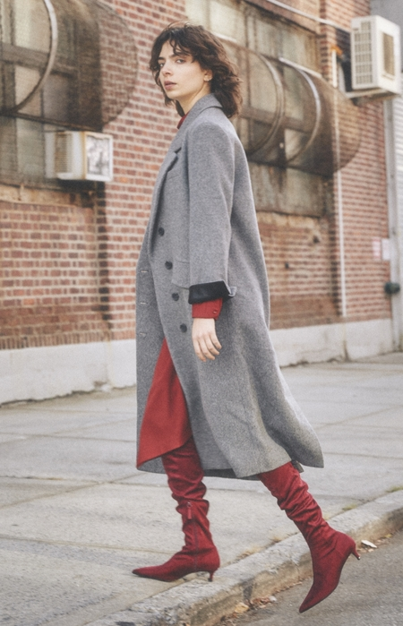 NUVO10 WOOL LONG COAT - MELANGE GRAY