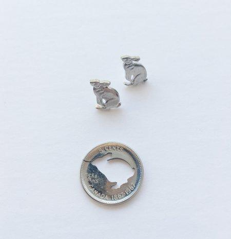 Micah Adams Rabbit Stud Earrings - silver