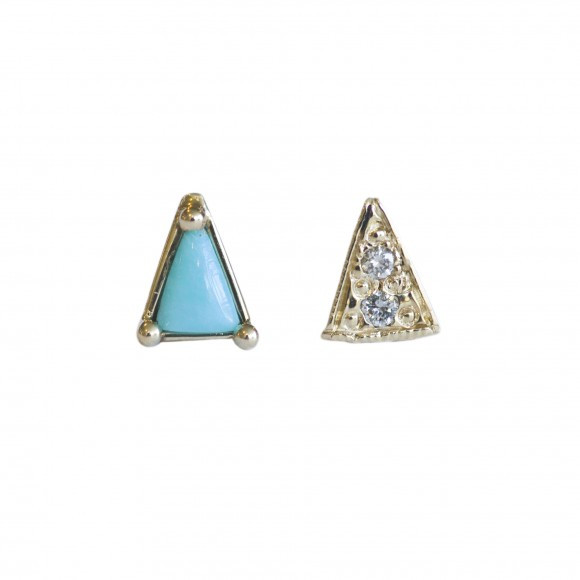Mociun Mismatched Turquoise and Diamond Earrings