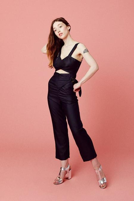 Samantha Pleet Curtain Jumpsuit - BLACK