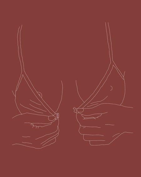 Drawn By Cave Kera Bra Print - Orange-Nude
