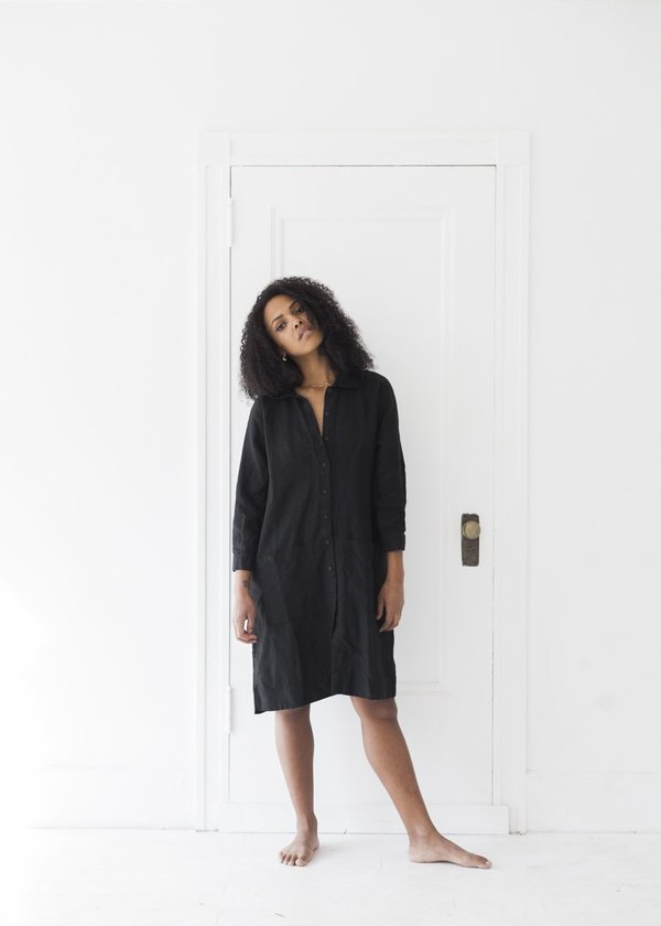 5b000ae84a8a Beaton Linen Raglan Coat Dress - Black   Garmentory