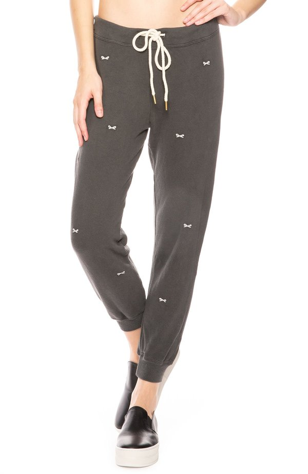 sale retailer save up to 60% great deals 2017 The Great. Bow Embroidered Sweatpants - Washed Black/Bow on Garmentory