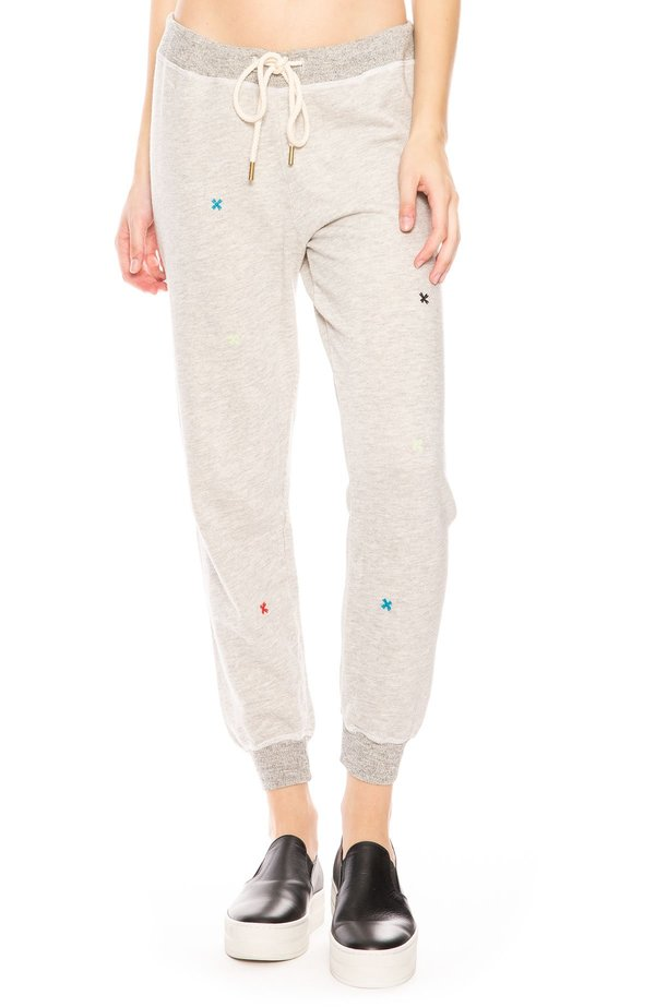search for authentic reliable quality good selling The Great. Embroidered Crop Sweatpants - Heather/Multi Folk on Garmentory