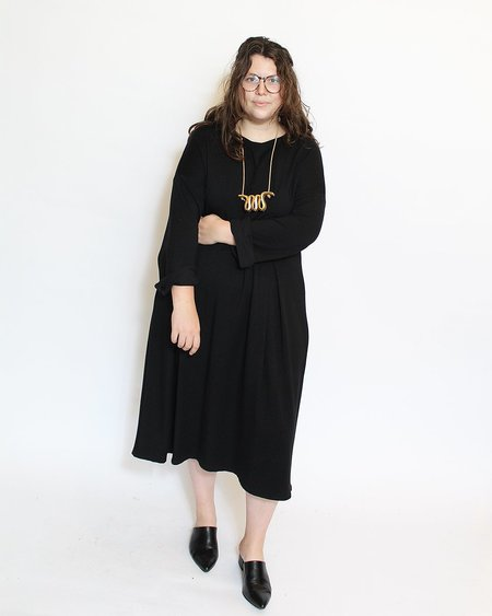 Corinne Beverly Pleat Dress - Black