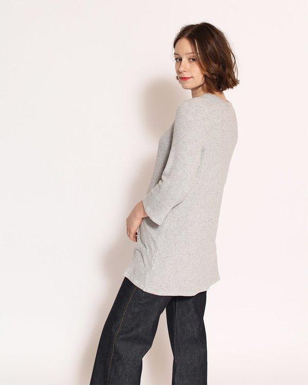 Corinne Nana Side Slit Sweater in Heather Grey