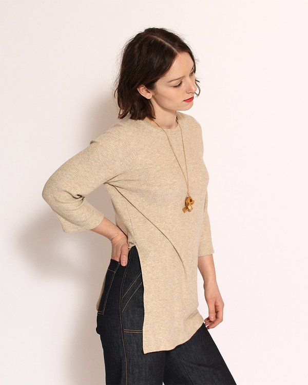 Corinne Nana Side Slit Sweater in Oatmeal