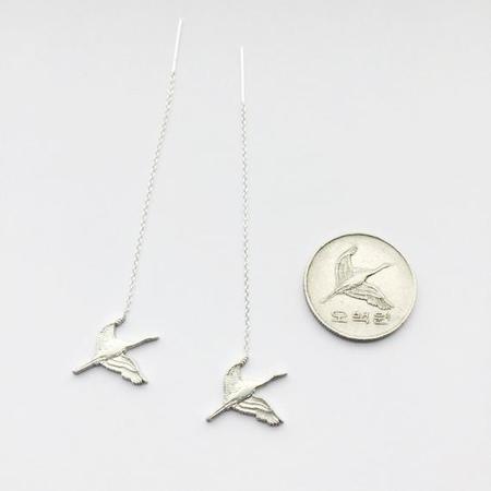 Micah Adams Crane In Flight Dangle Earrings - Silver