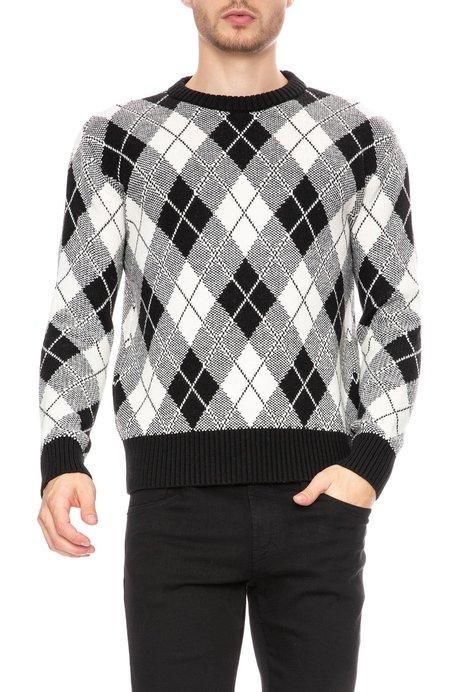 AMI Jacquard Crew Neck Sweater - Black/White