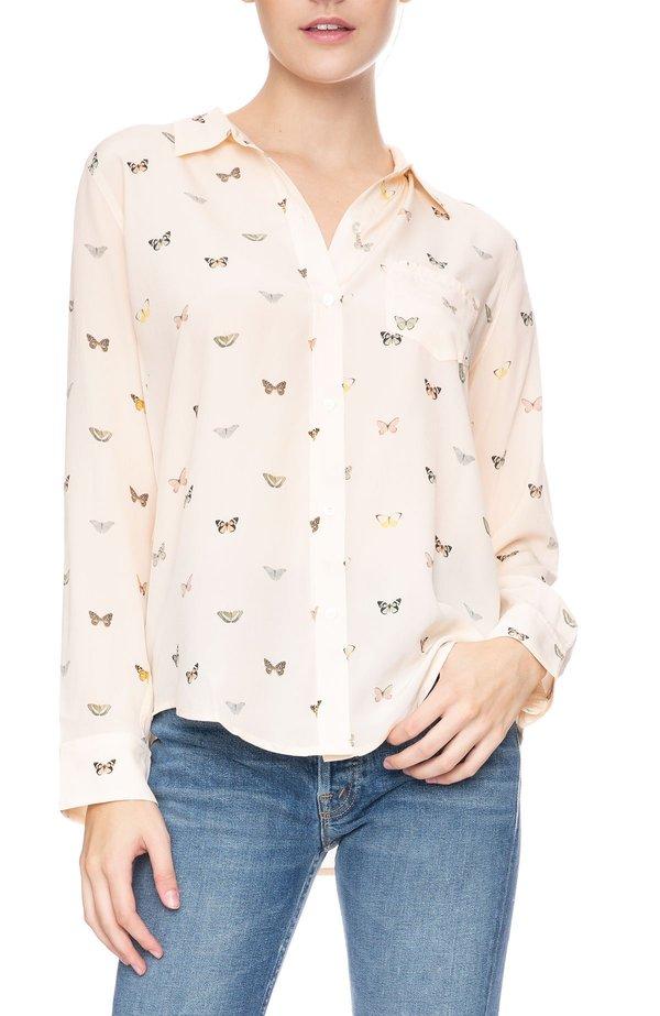 1f6c64a8e2c10f Rails Kate Silk Shirt - Blush Butterflies | Garmentory