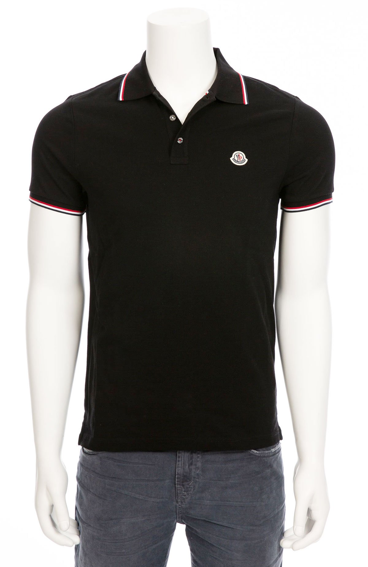 new concept a1031 a9c9a Moncler Polo with Tipping Detail - black/red