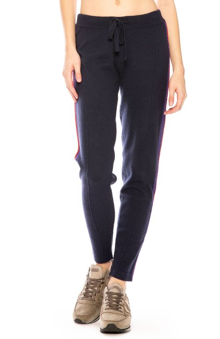 27 Miles Rory Metallic Trim Cashmere Sweatpants - Navy Multi