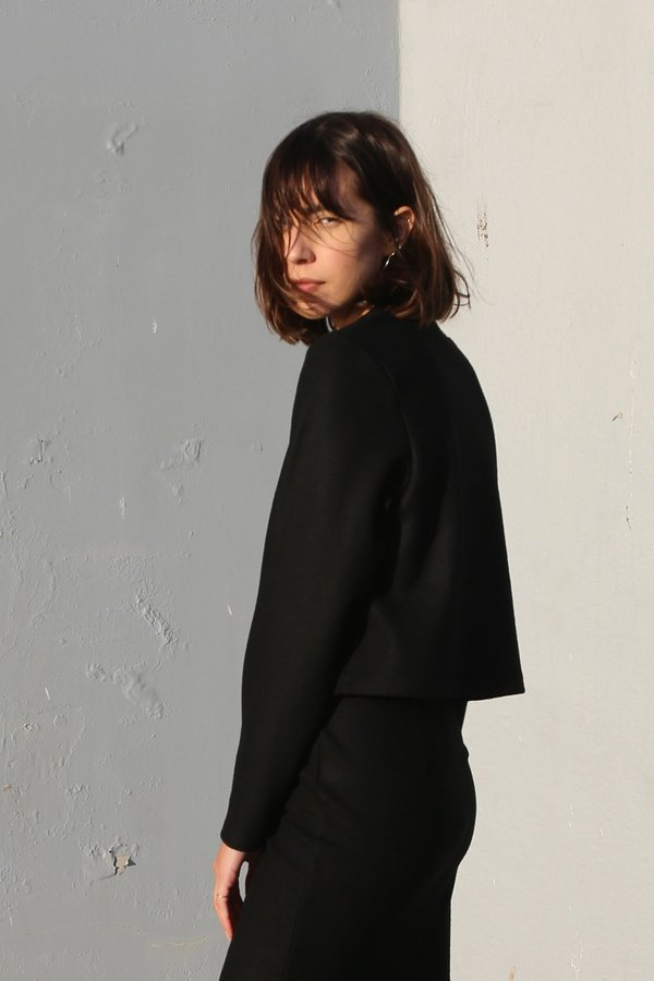 Waltz Wool Jersey Pullover in Black
