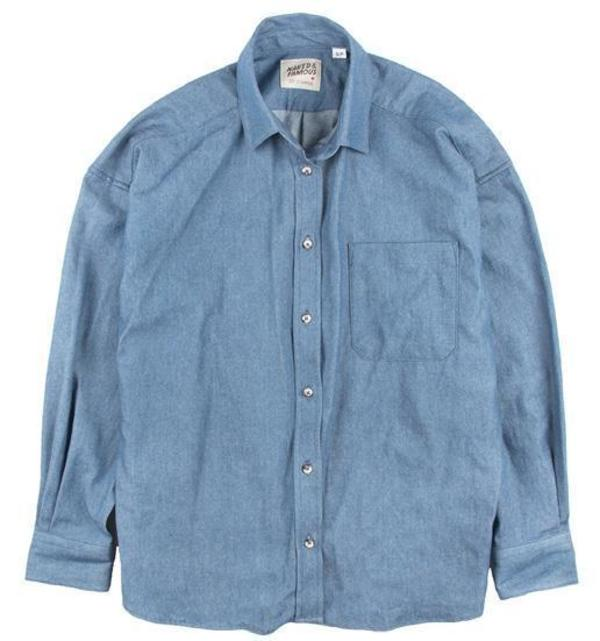 Naked & Famous Denim Bleached Easy Shirt - Indigo Pale