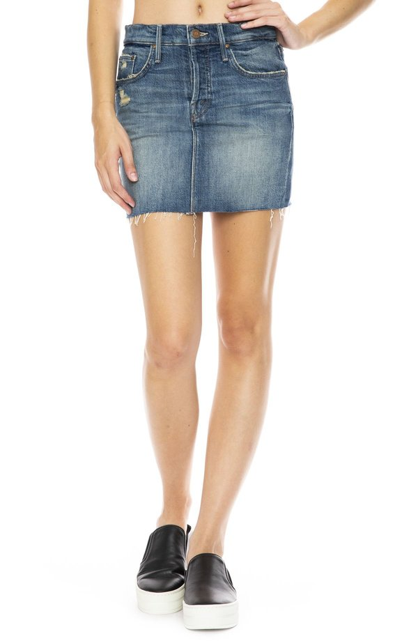 Mother denim vagabond mini skirt - natural born trouble