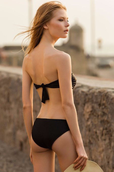 Touche Metalized Printed Bandeau One Piece