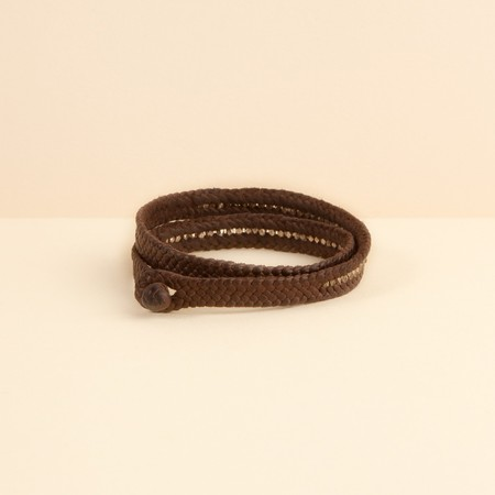 ISHI Leather Bracelet - DARK BROWN/SILVER