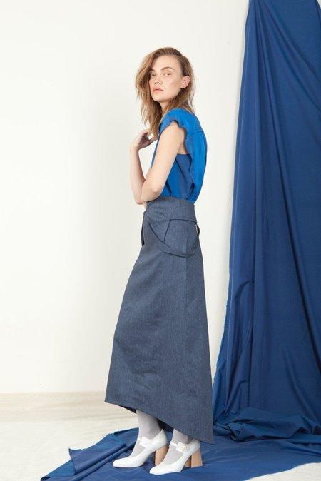 SCHAI Open V-Neck Dress - Natsu Denim