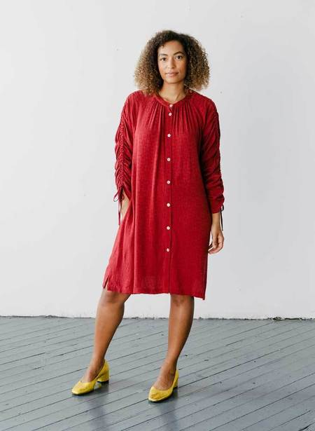 Seek Collective Cy Tile Silk Jacquard Shirt Dress - Vin