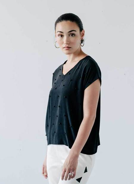 Seek Collective Insia Top with pompoms - black