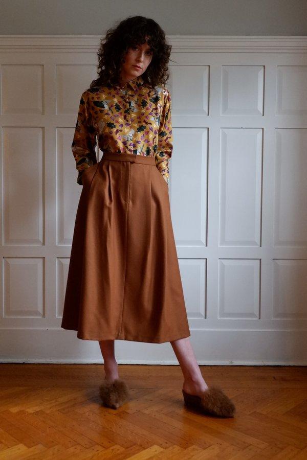 bd498ade7c Christine Alcalay Wool Pleated Midi Skirt   Garmentory