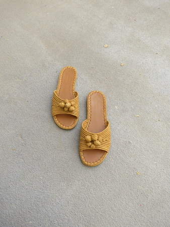 CARRIE FORBES SALMA SLIDES - MUSTARD