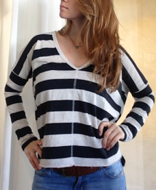 Amuse Society St. Jean Striped Long-Sleeve Sweatshirt
