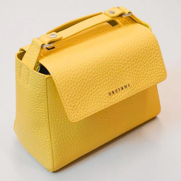 Orciani Sveva Small Leather Handbag - Lemon  e77f42767f822
