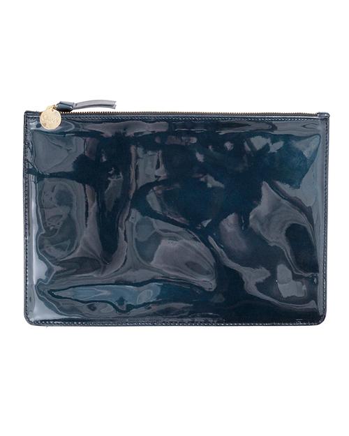 Clare V. Margot Flat Clutch In Prussian Blue Patent Leather