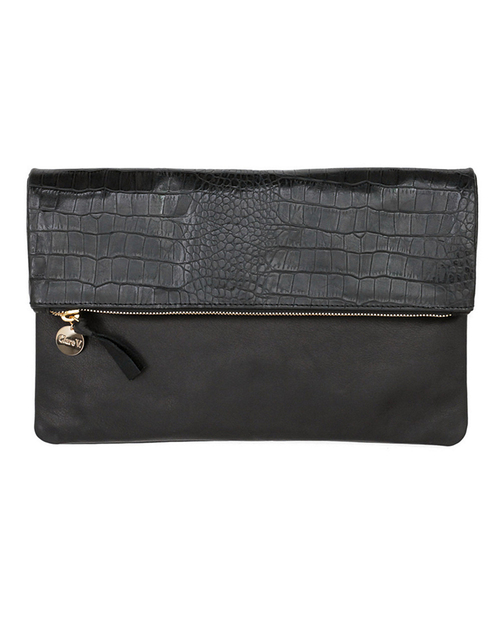 Clare V. Foldover Clutch in Two Tone Black Alligator and Black Leather