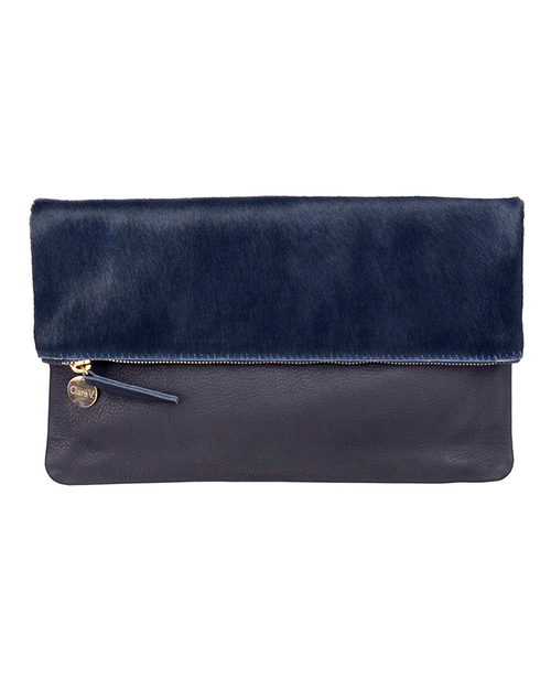 Clare V. Foldover Clutch in Navy Calf Hair and Navy Lambskin