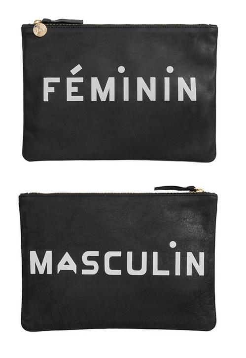Clare V. Flat Clutch In Black Masculine/Feminine Print