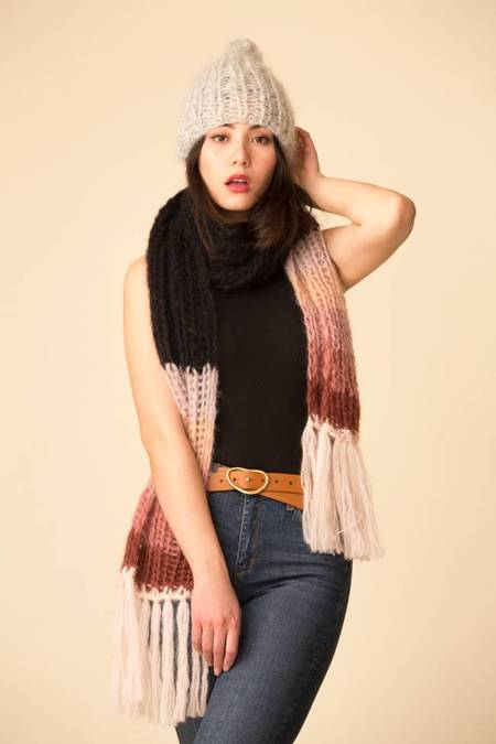 Maiami Mohair Basic Scarf w/ Gradient Border - Black