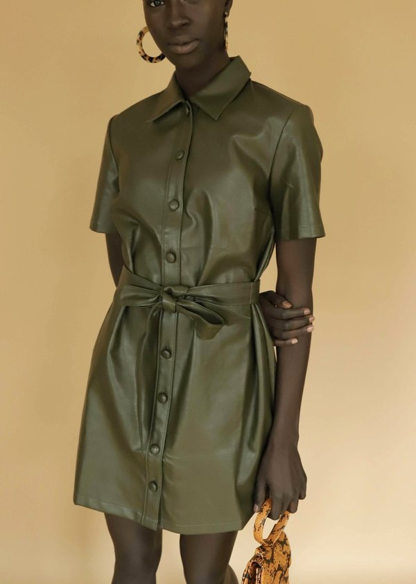 49a9bb4ce29 Sugar Lips Faux Leather Dress - Olive Green