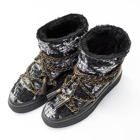 Inuikii English Tartan Sneakers With Chain Laces - Black