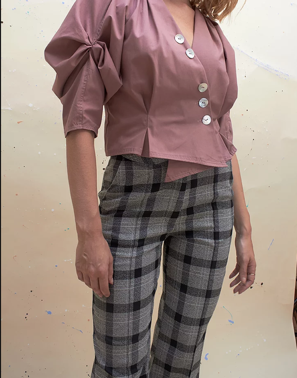House of Sunny Slim Trousers - Plaid