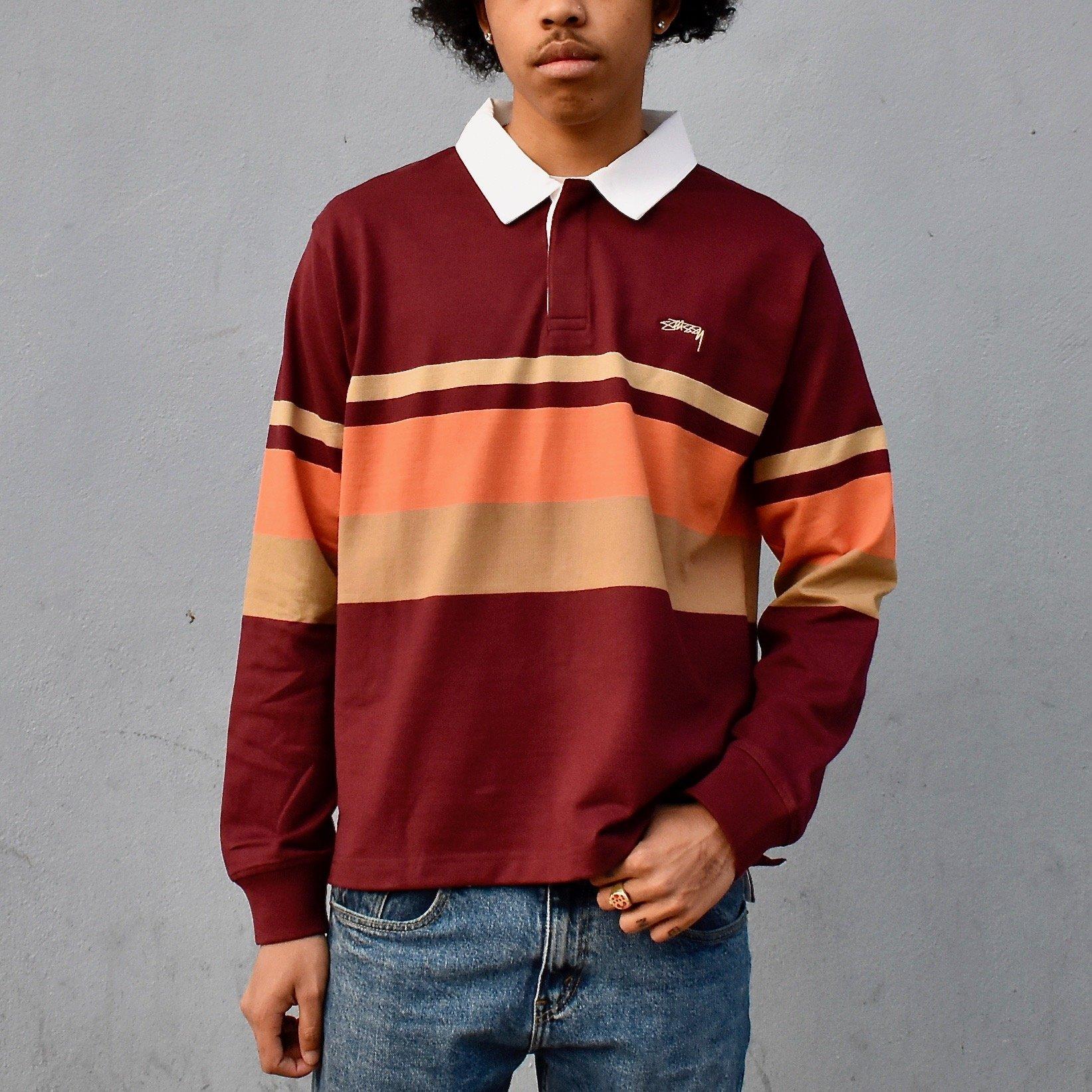 dc209668260 Stussy Lucas Stripe Long Sleeve Rugby Shirt   Garmentory