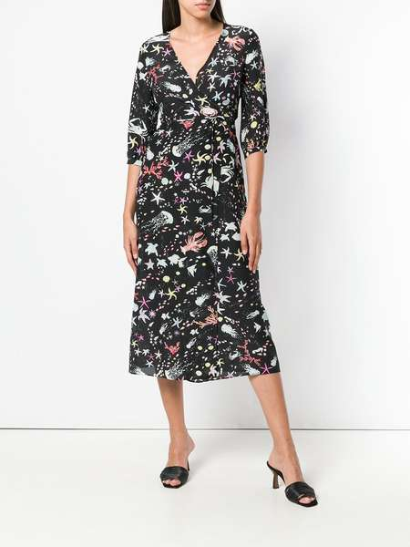 RIXO LONDON drape silk tie dress - Multi