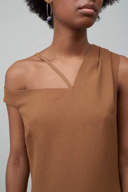 Nomia Asymmetric Off Shoulder Dress - Copper