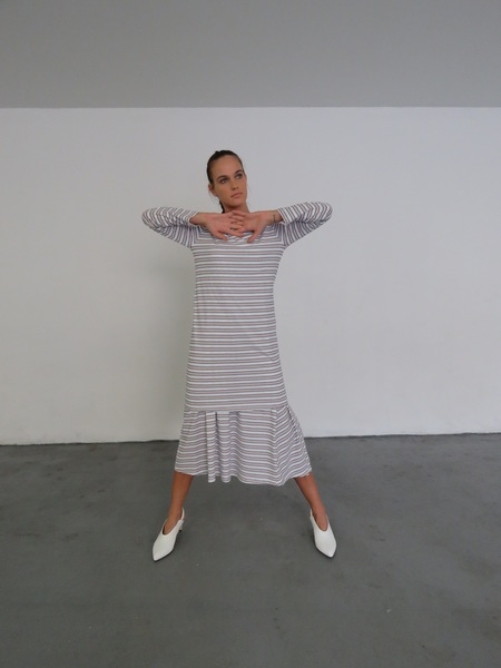 Kowtow Building Block Boat Neck Dress - Rose Navy Stripe