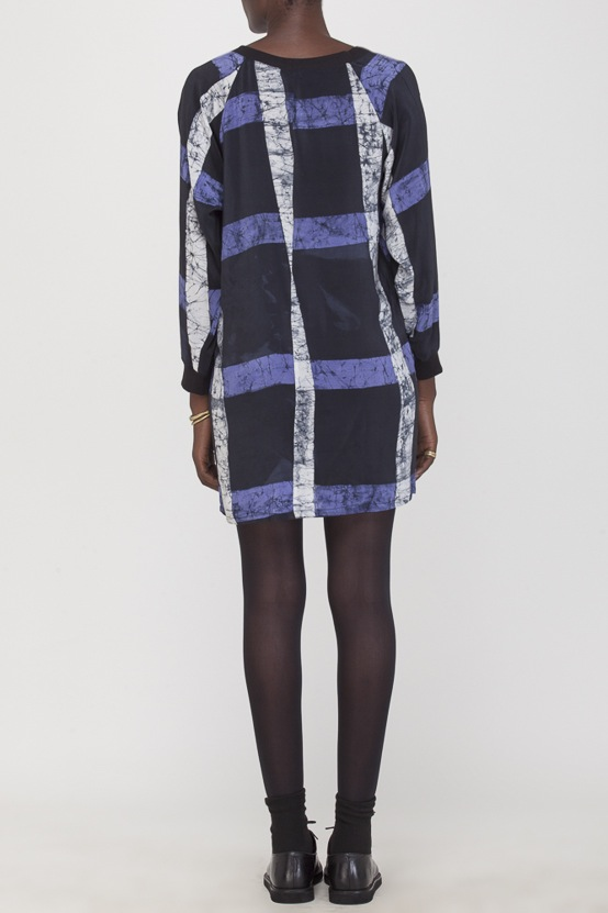 Osei-Duro Costa Dress in Cobalt Grid