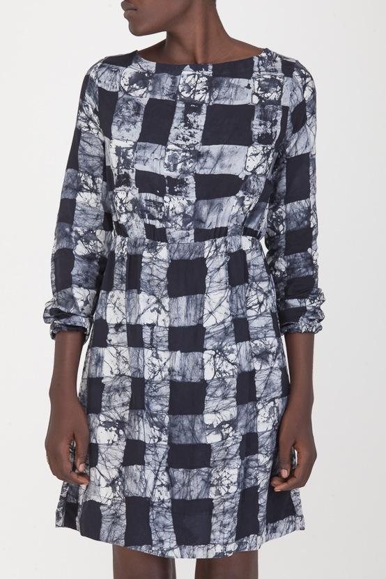 Osei-Duro Aburi Dress in B&W Gingham