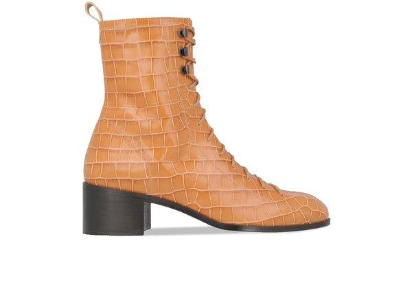 dd2ec2503 By Far Bota Croco Leather boot - Beige | Garmentory