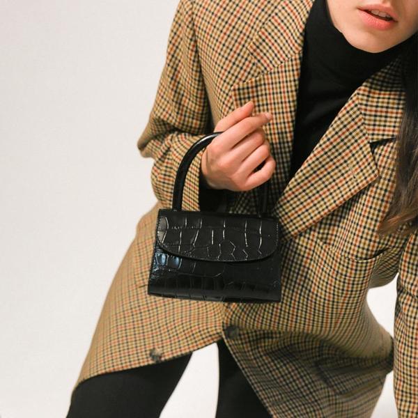 aee7887d BY FAR Mini Croco Embossed Leather Bag - Black   Garmentory